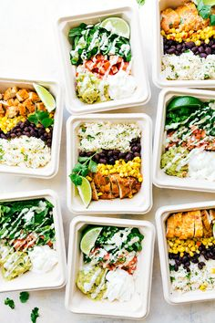 EASY MEAL PREP Chicken Burrito Bowls!! Tons of short-cuts for a better than a restaurant burrito bowl! Taco-seasoned chicken, cilantro-lime rice, salsa, guac, beans, and a creamy cilantro sauce! Recipe via chelseasmessyapron.com