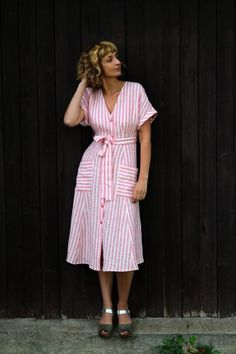 ABOUT: This handmade striped linen dress is perfect for any occasion and for all seasons. Perfect as a maternity dress and friendly for breastfeeding. Made from locally manufactured pre-washed linen fabric.