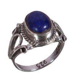 925 Solid Sterling Silver Ring Natural Lapis Lazuli Gemstone US Size 4 JSR-1040 #JaipurSilver