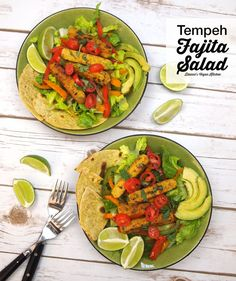 What a great new way to use tempeh from @Diannewenz! Tempeh Fajita Salad is #vegan and #glutenfree!