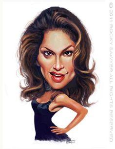 La bella Top Model Estadounidense Cindy Crawford, caricaturizada por el artista Rocky Sawyer.     C...