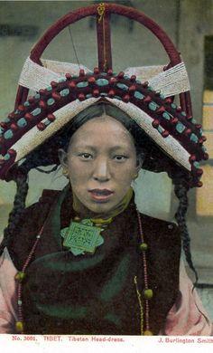 Tibetan Headdress || Postcard; publisher J Burlington Smith.  No 5001 || ca. 1930s