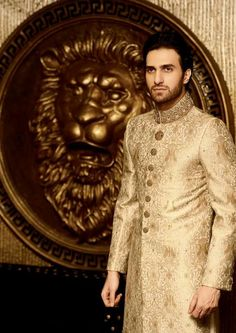 Cara is a brand offering clothes for men and women. Cara formal wear collection 2013 for women and men was launched recently. Men Wedding Attire Guest, Wedding Dress Men, Pakistani Wedding Dresses, Pakistani Bridal, Wedding Men, Wedding Suits, Sherwani Groom, Wedding Sherwani, Groom Outfit