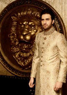 Model in golden sherwani. https://www.facebook.com/Shaadi.org.pk?fref=nf