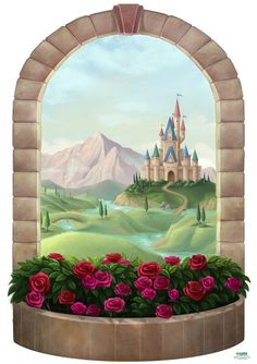 Princess Castle Window Mural to Decorate Girls Room Walls