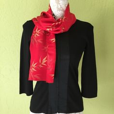 """Oriental bamboo leaves print scarf No label so i can't tell exactly but feel silky. Size 11"""" by 56"""" Accessories Scarves & Wraps"""