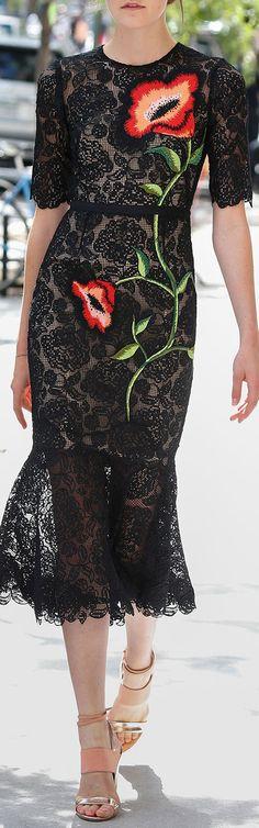 Lela Rose Floral Embroidered Lace Flounce Midi Dress