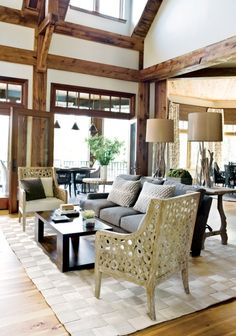 white walls with wood beams