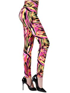 SATINIOR Soft Printed Fashion Leggings 80s Style with Assorted Designs for Women Weight Under 100 kg/220.5 lbs (One Size, Color 1)
