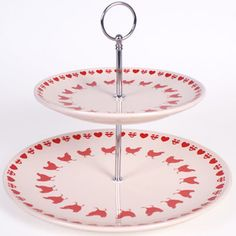 Large Two tiered chicken design Ceramic cake stand / Plate - 2 Tier. Boxed. New  vist our family business...The Ginger Sheep £13.99