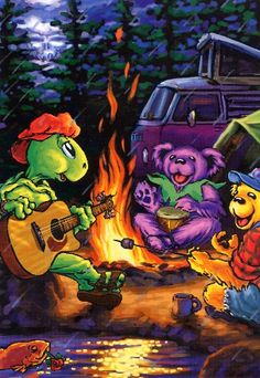 Grateful Dead campfire with animated dancing bears, a terrapin, a VW bus Grateful Dead Image, Grateful Dead Poster, Grateful Dead Dancing Bears, Hippie Art, Hippie Life, Grateful Dead Wallpaper, Dead Images, Dead And Company, Rockn Roll