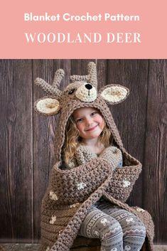 Woodland Deer Blanket Crochet Pattern - Hooded Woodland Deer Blanket Crochet PATTERN MJ's Off The Hook Design Woodland Deer Blanket Crochet Pattern Hooded Woodland Deer Crochet Simple, Love Crochet, Crochet Gifts, Crochet For Kids, Crochet Hooks, Knit Crochet, Crochet Deer, Crochet Unicorn, Beautiful Crochet