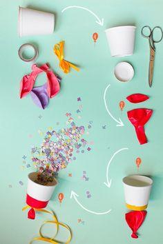 Aujourd'hui, voici une idée canon pour vos lancers de confettis (pétales de fleurs, grain de riz, paillettes…). Le genre d'idée tellement amusante que tout le monde passera la journée à jouer avec et à organiser dans le jardin des batailles rangées de lancer de confettis. Un super plan aussi, donc, pour favoriser les photos rigolotes …