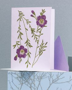Glittered Clip-Art Cards with Floral Design