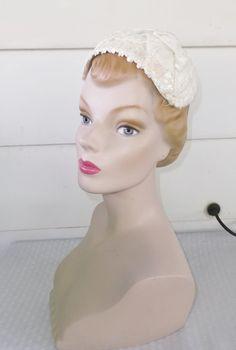 1950s Vintage White Velvet and Sequin Half Hat by MyVintageHatShop