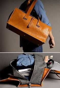Interesting leather and wool bag design