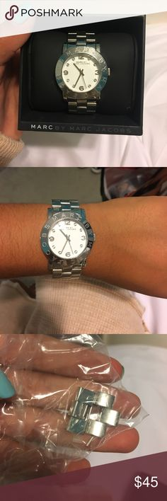 Marc by Marc Jacobs silver watch Gorgeous silver Marc Jacobs watch! Diamonds on face. Visible scratched on face but still in great shape! Needs a new battery Marc By Marc Jacobs Accessories Watches