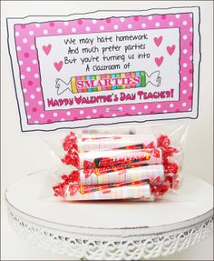 "Printable Valentine for Teachers ""Smarties"" from Parties and Patterns!"