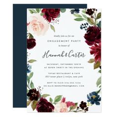 Radiant Bloom Floral Engagement Party Invitation - floral style flower flowers stylish diy personalize