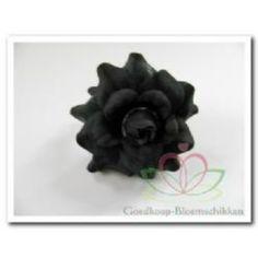 Rose head zwart zijde +/ #zijdebloemen pompoezaden-decoshop.nl