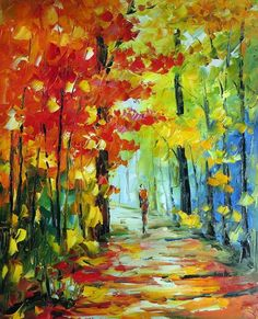 colorful Palette Knife oil painting on canvas modern abstract art deco  K160