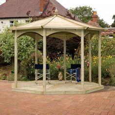 Grange Keswick Gazebo Open Sides Pressure Treated Timber construction is a sturdy and attractive garden feature available at big discounts. Gazebo Pergola, Wooden Garden Gazebo, Garden Seating, Garden Structures, Outdoor Structures, Pressure Treated Timber, Timber Roof, Gazebo, Gardens