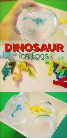 Dinosaur Ice Eggs are a fun Dinosaur Activity for Kids that is inexpensive and easy to do. This is a great activity for preschool and school age kids.