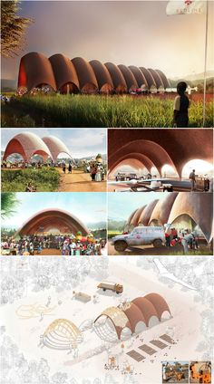 In their latest project, Foster + Partners switches gears from large-scale airports to something much smaller and unexpected: drones. The international design studio unveiled plans for the Droneport, a transit hub to support unmanned flying vehicles in th Public Architecture, Brick Architecture, Concept Architecture, Sustainable Architecture, Landscape Architecture, Landscape Design, Norman Foster, Master Thesis, African House