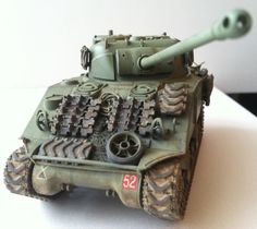1/48 scale Tamiya model of the Sherman Firefly IC.  This was an up-gunned British version of the American M4 Sherman tank.  Equipped with the British 17-pounder anti-tank cannon, it was capable of cracking the frontal armor of a Tiger tank.
