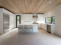 they'll think i'm nuts but i do love terrazzo floors and wood on the ceiling. something to think about with dogs in the house