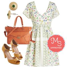 In this outfit: Graceful Vignettes Dress, Refined Regalia Earrings, Tote of the Town Bag, Marvelous Maven Heel in Marigold #floral #rustic #country #alinedress #cute