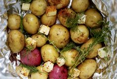 New potatoes with Old Bay and Dill~I just never thought of adding Old Bay seasoning to potatoes. I'm sure the hubby and teens would love it. (Butter Substitute For Potatoes) Dill Recipes, Herb Recipes, Side Dish Recipes, Grilling Recipes, Healthy Recipes, Campfire Recipes, Healthy Menu, Eating Healthy, Churros