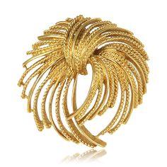 1960S Vintage Monet Gold Fringe Starburst Brooch