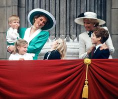 Princess Diana stands next to Princess Michael of Kent during Trooping the Colour in 1988.