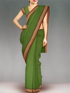 Shop online exclusive pure Chettinad cotton sari at unnatisilks.com Refreshing green color pure handloom chettinadu cotton saree with matching blouse.This cotton sari has got all over yellow,white woven stripes along with cream thread woven temple style brown border on either side.And it has cream vertical stripes elegant pallu.It is suitable for casual and corporate wear. To purchase online Chettinad cotton sarees please visit our site http://www.unnatisilks.com/