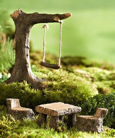 Look at this Miniature Fairy Garden Swing & Picnic Set on #zulily today!