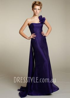 grape organza petal one shoulder sleeveless a-line floor length bridesmaid dress  Nice shape