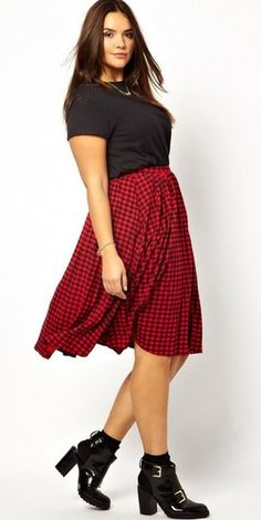 Check Midi Plus Size Skirt