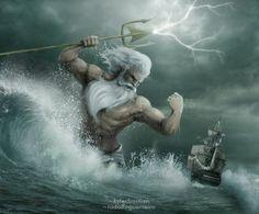 Poseidon and his Trident (Poseidon (Neptune) Greek God - Art Picture by rodolfoguerreiro)