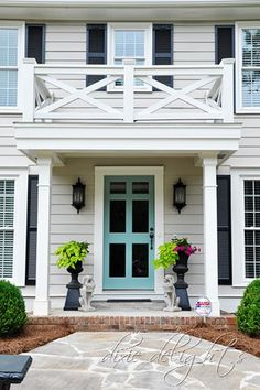 Front door colors with tan house black shutters planters 23 ideas for 2019 Best Exterior Paint, Exterior Paint Colors For House, Paint Colors For Home, Exterior Colors, Paint Colours, House Shutters, Black Shutters, Front Door Paint Colors, Painted Front Doors
