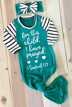 FaithBaby.com | For this Child I have Prayed Girl Newborn Gown