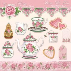 If you love tea and shabby chic roses, this set of handpainted art is to die for. Description from kaboodle.com. I searched for this on bing.com/images