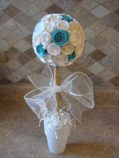 Off White and Turquoise Blue Rose Flower topiary for any party, wedding, baptism, baby shower, centerpiece or decoration Pink Paper, Paper Roses, Baptism Party, Party Centerpieces, Wedding Centrepieces, Purple Roses, Decoration, Christening, A Table