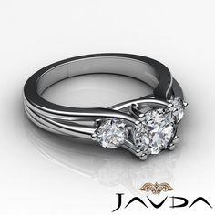 Round Diamond Ideal Three Stone Engagement Ring GIA H SI1 14k White Gold 1 5 Ct | eBay