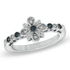 Blue and White Diamond Vintage-Style Ring
