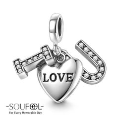 Soufeel I Love You Pendant Charm 925 Sterling Silver, for every memorable day. The charm fits all bracelets. Pandora Jewelry, Charm Jewelry, Pandora Charms, Jewlery, Engraved Bracelet, Silver Gifts, Love Charms, Love Symbols, Lucky Charm