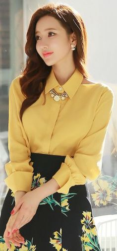 StyleOnme_Shoulder Cut-Out Collared Blouse  W/out the necklace
