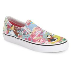 Vans 'Classic - Disney Alice in Wonderland' Slip-On Sneaker ($60) ❤ liked on Polyvore featuring shoes, sneakers, colorful shoes, multi colored sneakers, print sneakers, vans shoes and retro shoes