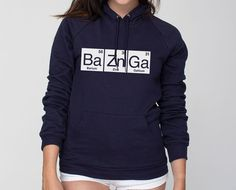 BaZnGa Periodic Table Bazinga American Apparel Pullover Hoodie - Unisex Size XS S M L XL 2XL Bazinga! Great for students, graduates, science