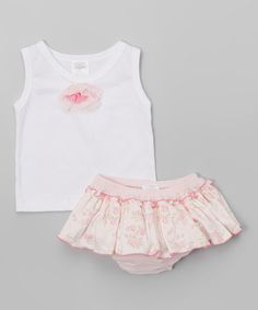 Loving this White Tank & Pink Floral Bloomers - Infant on #zulily! #zulilyfinds